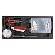Vložka do zásuvky - izol. páska, skúšačka, nožnice, montážny nôž, sada vrtákov 1-10mm (YT-55471)