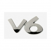 """Emblém """"V6"""" chrom, 40 x 65 mm (LOG1511)"""